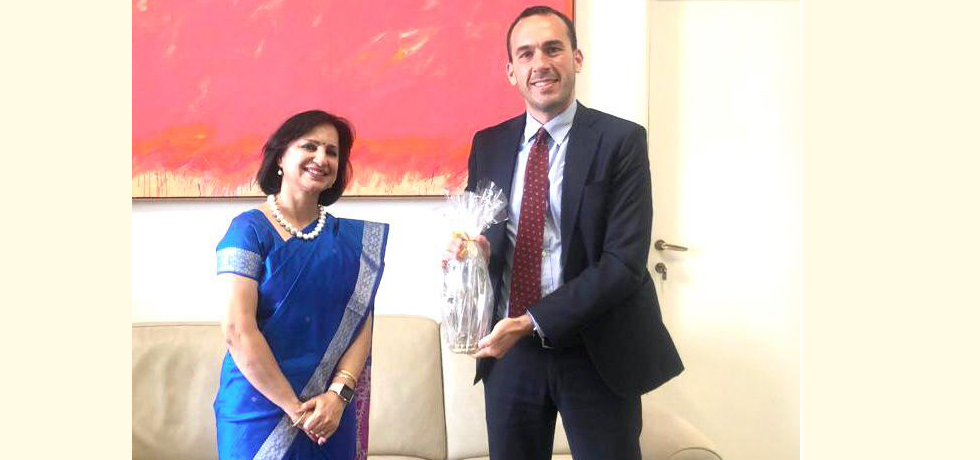Ambassador Dr Neena Malhotra meeting with Hon'ble Mr Manlio Di Stefano, Under Secretary of State, Ministry of Foreign Affairs